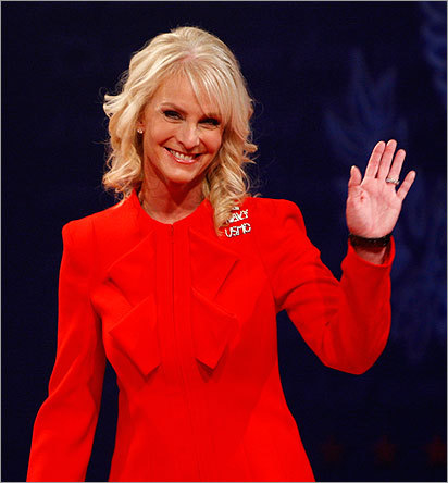 Cindy McCain, the wife of Republican presidential candidate John McCain, waved prior to the start of the debate.