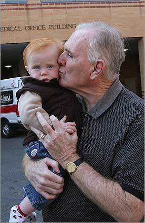 Former Boston mayor Ray Flynn, greeting grandson Flynn Patrick foley, left St. Elizabeth's Medical Center Sept. 23 after a week's stay. He was admitted after he collapsed in Quincy during a speaking engagement.