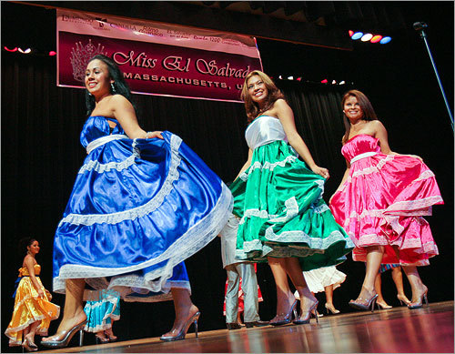 Contestants strode across the stage during the Miss El Salvador Massachusetts pageant on Sept. 20, one of a growing number of ethnic beauty pageants in the Boston area. Organizers from Colombia, India, Cambodia, Vietnam and a host of other nations are pushing the pageants as a way to teach contestants about their heritage.