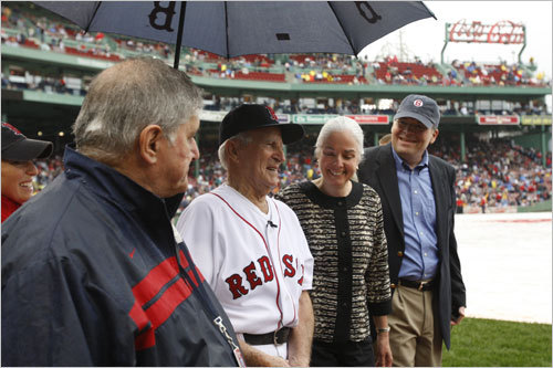 Red Sox legend Johnny Pesky was the center of attention during ceremony in which his Red Sox uniform No. 6 was retired prior to the start of a Red Sox-Yankees game at Fenway Park on Sunday afternoon.