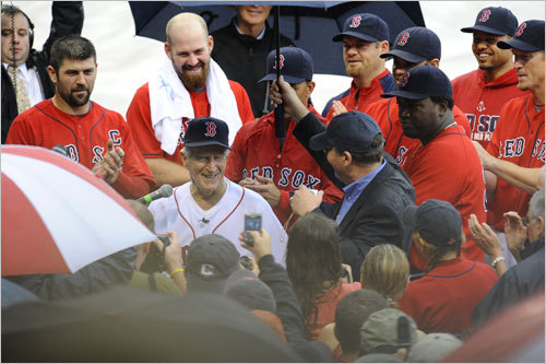 Red Sox players surrounded Pesky.