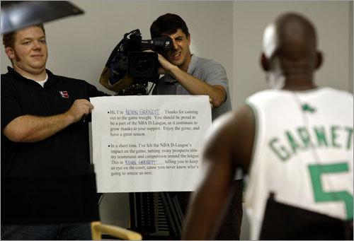Kevin Garnett read some cue cards for an NBA promotion.