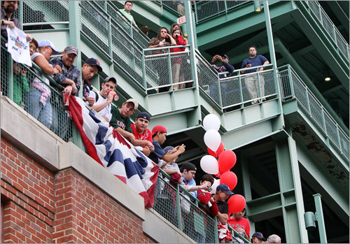 Sox fans lined up to watch the Red Sox go.
