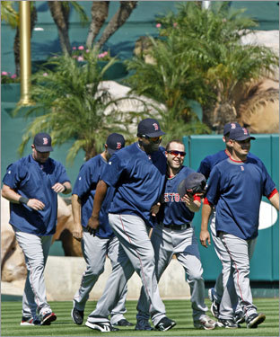 Red Sox players walked off the field Tuesday.