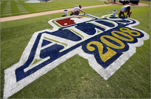 The ALDS logo was painted on the field in Anaheim.