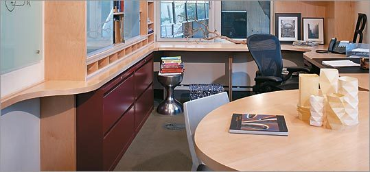 MIT professor Bruce Tidor's new work space, redesigned with a nod to the Fibonacci numbers.
