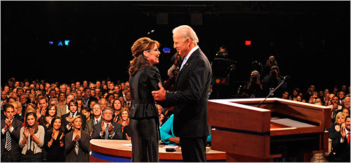 As they shook hands at the start of the debate, Palin asked Biden if she could call him 'Joe.' He said yes.