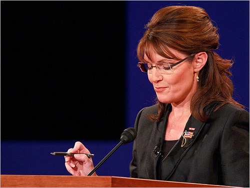 Palin chided Biden during the debate for looking 'backwards' and focusing too much on the Bush administration rather than on the future.