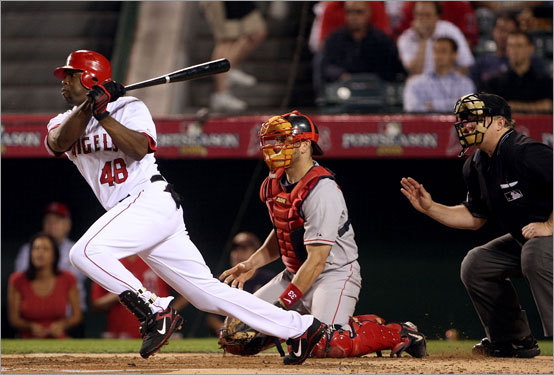 Angels outfielder Torii Hunter stroked an RBI single in the bottom of the first inning.