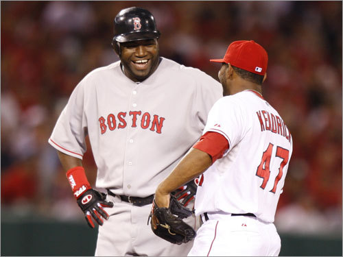 Red Sox DH David Ortiz (left) and Angels second baseman Howie Kendrick (right) while Ortiz stood at second base.