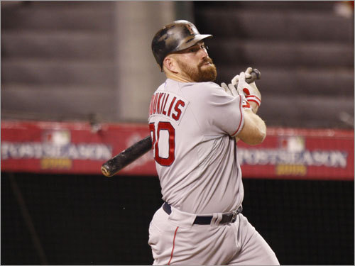 Red Sox third baseman Kevin Youkilis hit a single with two outs in the first inning.