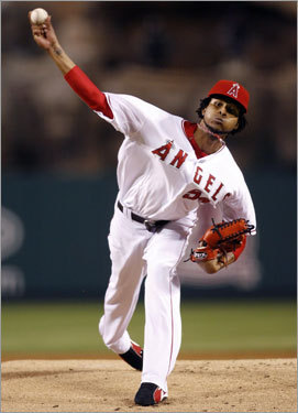 Angels pitcher Ervin Santana delivered a pitch in the first inning of Game 2 of the ALDS.