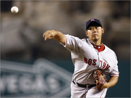 Red Sox starter Dice-K Matsuzaka delivered a pitch in the first inning.