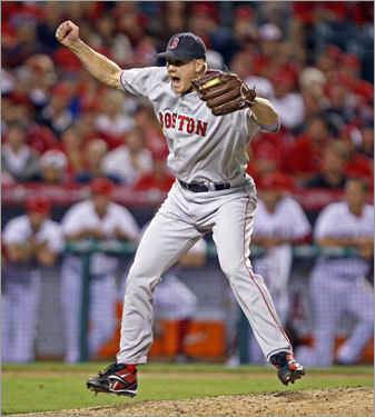 Jonathan Papelbon reacted after recording a two out save in Game 2 of the ALDS. The Red Sox took a 2-0 lead in the series.