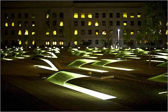 The Pentagon Memorial 'is intimate,' said Jason DeRose of National Public Radio, 'inviting you to sit alone on one of those cantilevered benches and ask yourself what September 11th means.'