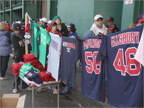 Fans waited on Landsdowne Street for tickets to Game 3.