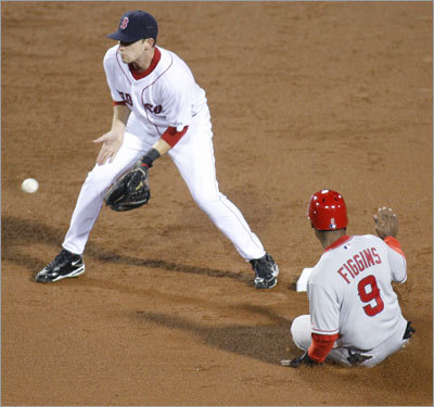 Angels speedster Chone Figgins (right) stole second base as Sox shortstop Jed Lowrie awaited the throw.