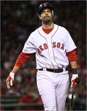 Mike Lowell reacted after striking out during the second inning.