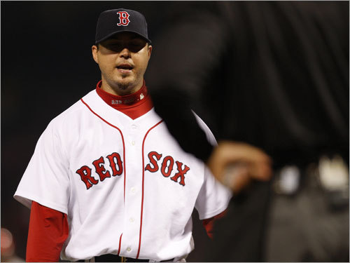 Boston starter Josh Beckett spoke with home plate umpire Kerwin Danley after the first inning.