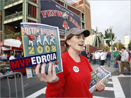 Stephanie Schnur sold Red Sox programs on Yawkey Way prior to Game 3.
