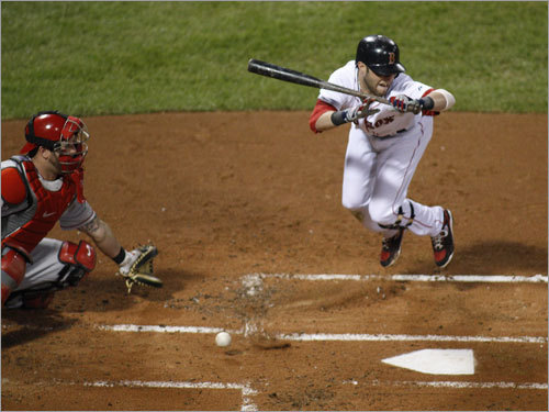Dustin Pedroia tried to avoid a pitch from Joe Saunders (not pictured) in the first inning.