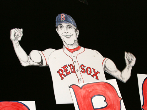 The K-men introduced a new flexing 'Pedroia MVP' cardboard cutout . . .
