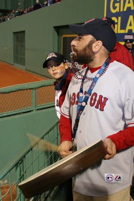 Enzo Bernardo drove to Fenway from Wayne, N.J. to see Game 3. He said he only brings the drum to playoff games and the Sox are 4-1 (now 4-2) in postseason games he's attended since 2004. Bernardo said he was driving back to New Jersey after the game. He may still be driving.