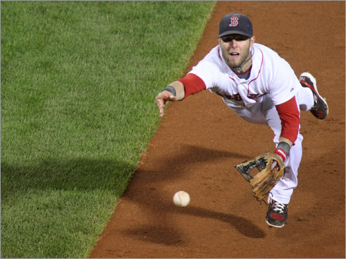 Dustin Pedroia flipped the ball to first on a dribbler to second base in the third inning.