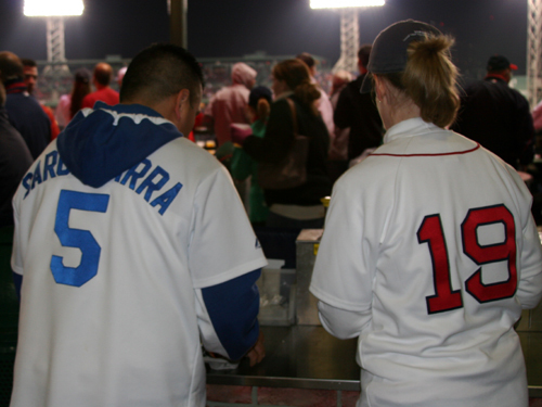 When we saw the front of Conrad Rodriguez's jersey, we assumed we'd see old No. 99 on the back but the LA native, now living in No. Attleborough, was sporting a rare Nomar uniform in Dodger blue. For the record, Conrad thinks it's 'awesome' how well Manny Ramirez has done in leading the Dodgers into the NLCS.