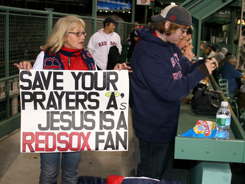 Linda Hersey drove all the way from Thomaston, Maine, to take in Game 3. As it turned out, it was the Red Sox who didn't have a prayer of sweeping the series.