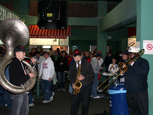 The Red Sox added a band on the big concourse under the bleachers for Game 3.