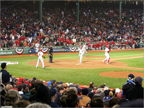 Fenway Park grew silent after new Sox nemesis Mike Napoli scored what became the winning run on a single by shortstop Erick Aybar in the top of the 12th inning.