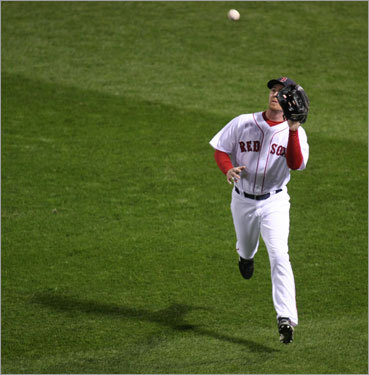 Red Sox right fielder J.D. Drew fielded a pop fly in the second inning.