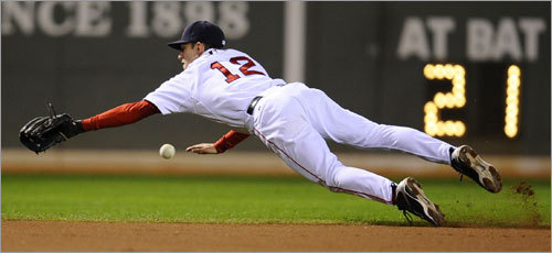 Red Sox shortstop Jed Lowrie dove for a ball hit by Angels right fielder Juan Rivera during the second inning.