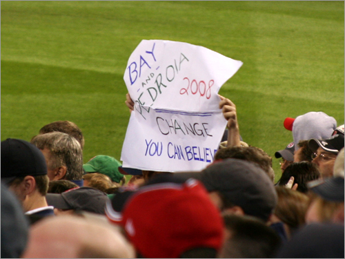 This Fenway voter supports Jason Bay and Dustin Pedroia in 2008 for 'change you can believe in.' But the running mates may have to change their approach at the plate if they want to help the Sox advance. Bay and Pedroia went a combined 0 for 10 in Game 3.