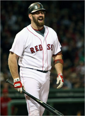 Red Sox third baseman Kevin Youkilis reacted after a called third strike in the second inning.