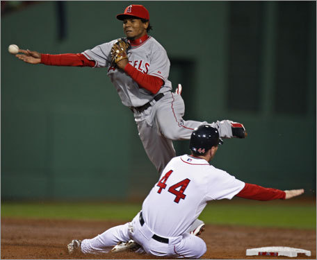 The Red Sox' Jason Bay (44) tried to break up a double play, but Angels shortstop Erick Aybar fired to first to turn two.