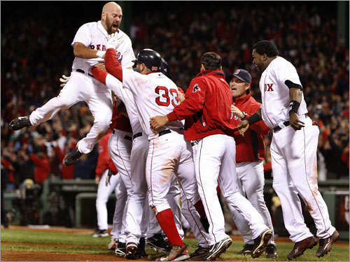 With a second-consecutive ALDS win over the Angels, Kevin Youkilis (left) and the Red Sox were once again walking on air.