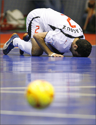 See more photography at Boston.com/photos Egypt's Ahmed El Agouz celebrates after scoring a goal against Argentina during a FIFA Futsal World Cup 2008 match in Brasilia, Friday, Oct. 3, 2008.