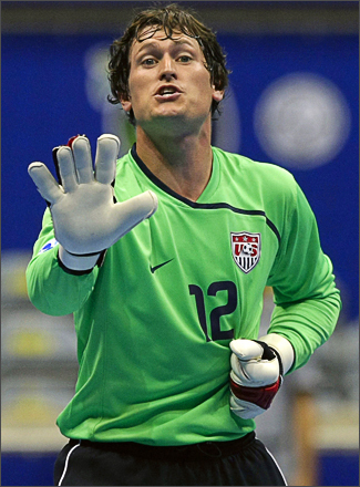 See more photography at Boston.com/photos Goalkeeper Jeff Richey of the U.S. reacts during the FIFA Futsal World Cup qualifying soccer match against Italy at the Gimnasio Maracanazinho in Rio de Janeiro October 2, 2008.