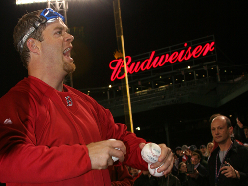 Red Sox pitcher Paul Byrd threw baseballs to fans in the stands during the on-field portion of the celebration.