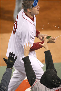 Papelbon sprayed fans with champagne during celebrations.