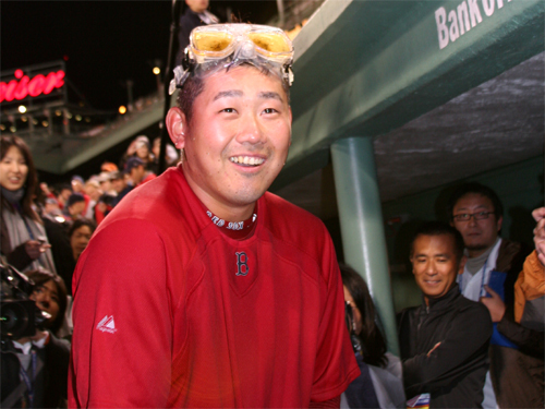 Daisuke Matsuzaka held an impromptu press conference with the Japanese media in the Red Sox dugout after the game.