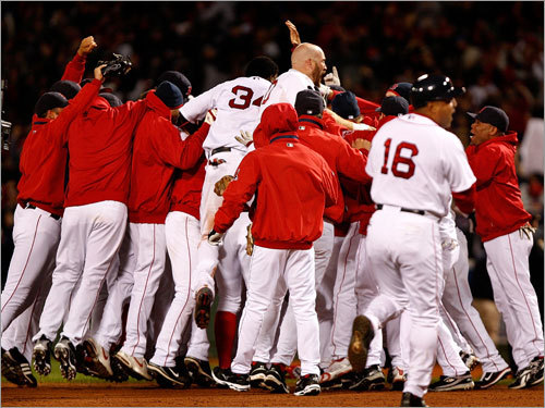 The Sox jump up and down in the moments after the win.