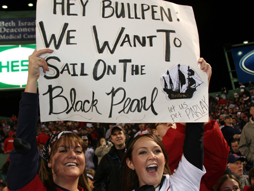 Jenn DeAngelis of Peabody and Meghan Hoyle of Stoughton hope to sail on the Black Pearl, the nickname of the Red Sox bullpen. They even started a blog on the subject: BlackPearlGirl.blogspot.com .