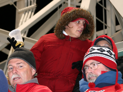 Kathy Gaudet of Pelham, N.H. knows the cold, and she was dressed for it Monday night when she broke out the snorkel jacket.