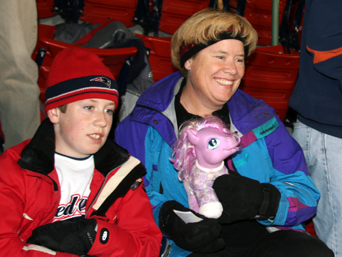 "Carrie Redden, from Tiverton, R.I., brought along a Little Pony to help Dustin Pedroia break his hitless streak in the ALDS. It worked as Pedroia banged out an RBI double in the fifth inning. Pedroia was called ""caballito,"" or ""the little pony,"" by TBS broadcaster Chip Caray during Game 1."
