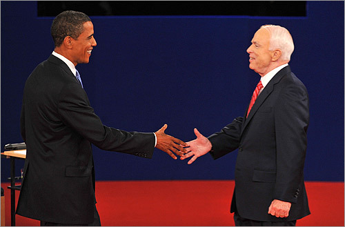 Barack Obama and John McCain met on stage at Belmont University for the second presidential debate Tuesday night. The town hall debate, which featured questions from the audience, quickly became an economic discussion, no surprise after stocks again plummeted earlier Tuesday.