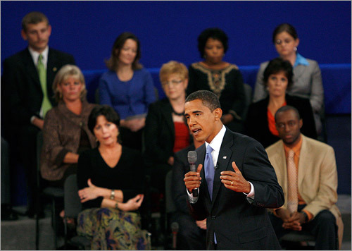 Obama countered by chiding McCain for supporting all of President Bush's tax cuts, and arguing his own plan would reduce taxes for 95 percent of Americans. 'Senator McCain I think the straight talk express lost a wheel on that one,' Obama said, disputing McCain's interpretation of his tax plan.