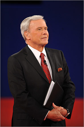Moderator Tom Brokaw took the stage.